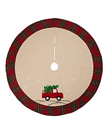 Fabric Christmas Tree Skirt - Red Truck