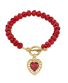 Gold-Tone Beaded Heart Charm Toggle Bracelet