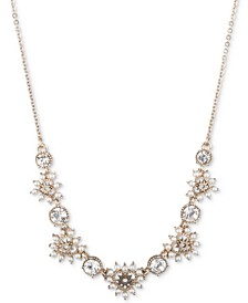 """Gold-Tone Crystal & Imitation Pearl Heart Statement Necklace, 16"""" + 3"""" extender"""