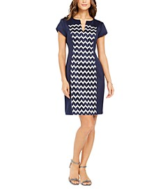 Petite Chevron-Print Sheath Dress
