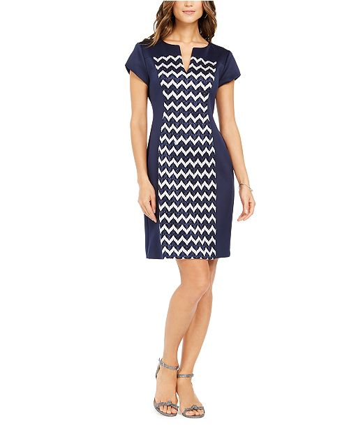 Connected Petite Chevron-Print Sheath Dress