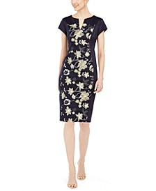 Petite Floral-Panel Sheath Dress