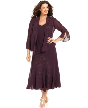 1920s Plus Size Dresses & Quality Costumes R  M Richards Plus Size Beaded V-Neck Dress and Jacket $139.00 AT vintagedancer.com