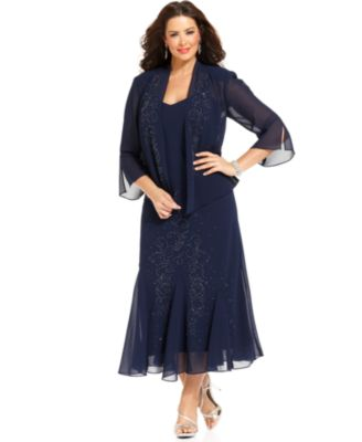 R&M Richards Plus Size Beaded V-Neck Dress and Jacket - Dresses ...