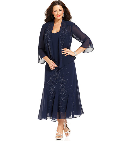 R&M Richards Plus Size Beaded V-Neck Dress and Jacket - Dresses ...