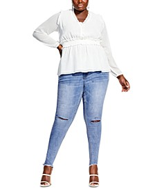 Plus Size Ruffled Peplum-Hem Top