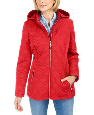 Hooded Rain-Resistant Quilted Jacket