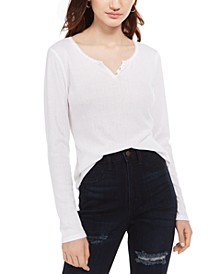Juniors' Pointelle-Knit Henley Top