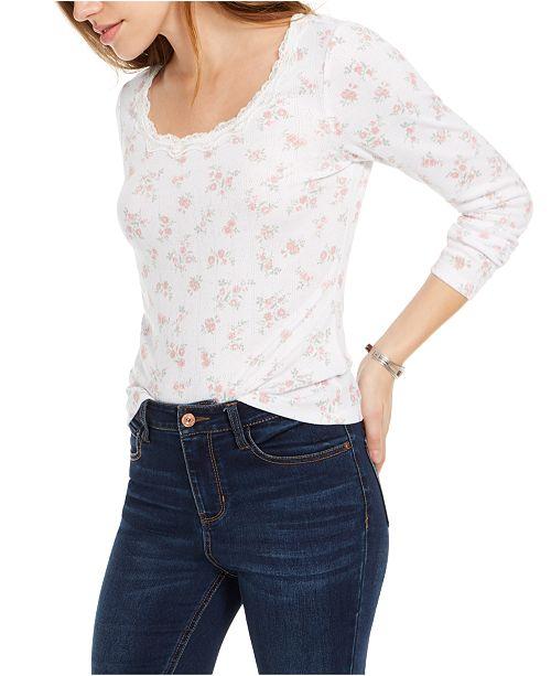 Ultra Flirt Juniors' Floral Print Lace-Trimmed Top