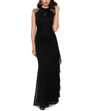 Betsy & Adam Beaded-Shoulder Gown