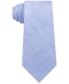 Men's Classic Tonal Logo Block Silk Twill Tie