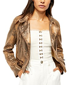 Snake Skin Fenix Faux-Leather Moto Jacket
