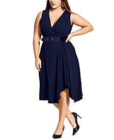 Trendy Plus Size V-Neck Faux-Wrap Dress