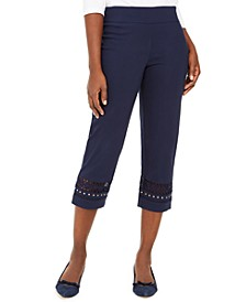 Petite Crochet-Trim Capri Pants, Created for Macy's