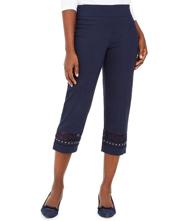 JM Collection Petite Crochet-Trim Capri Pants, Created for Macy's