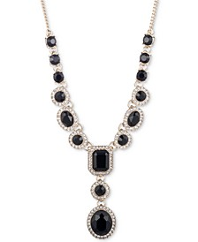 "Pavé & Stone Lariat Necklace, 16"" + 3"" extender"