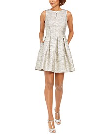 Metallic Jacquard Fit & Flare Dress