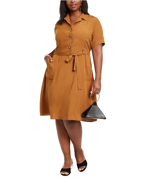Monteau Trendy Plus Size Midi Shirtdress