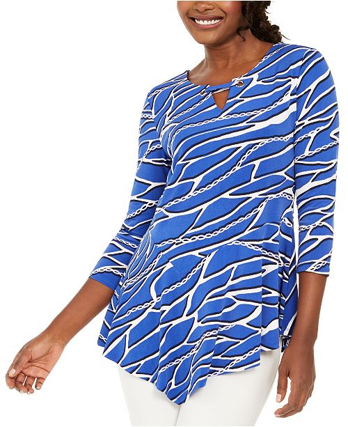JM Collection Chain-Print Grommet Tunic, Created for Macy's