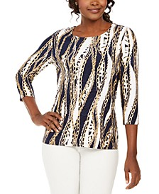 Chain-Print Metallic Top, Created For Macy's