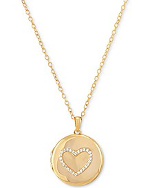 "Cubic Zirconia Heart Single Frame Locket 18"" Pendant Necklace Gold-Plated Sterling Silver"