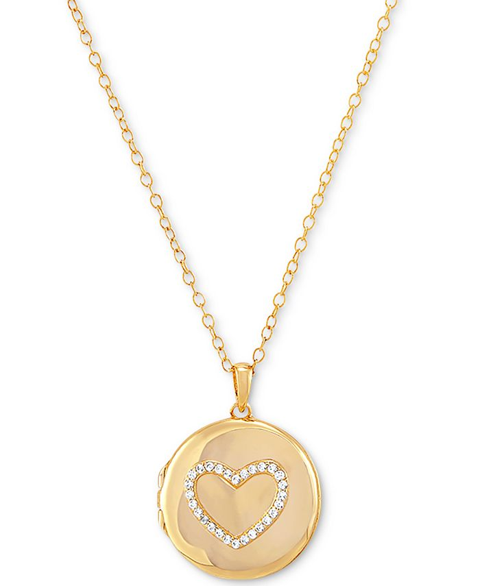 """Macy's - Cubic Zirconia Heart Single Frame Locket 18"""" Pendant Necklace Gold-Plated Sterling Silver"""