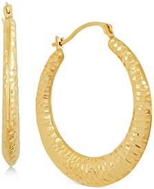 Radiant Textured Small Hoop Earrings in 10k Gold