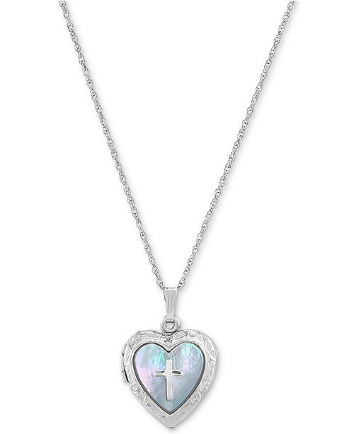 "Macy's Mother-of-Pearl Cross Heart Locket 18"" Pendant Necklace in Sterling Silver"