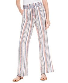 Juniors' Striped Smocked-Waist Soft Pants