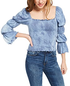 Juniors' Tie-Dyed Smocked Ruffle-Trimmed Top