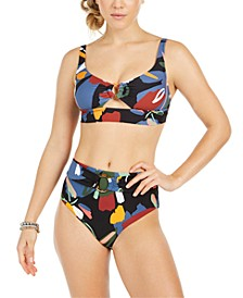 Bold Print Tortoise-Ring Bikini Top & High-Waist Bottoms, Created for Macy's