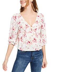 Juniors' Floral Print O-Ring Top