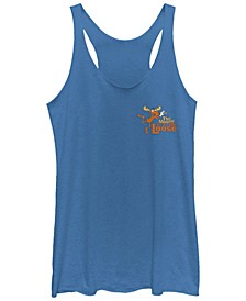 Rocky and Bullwinkle Moose Is On The Loose Tri-Blend Racer Back Tank