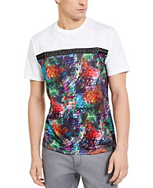 INC Men's Graffiti Graphic T-Shirt with Studded Faux-Leather Taping, Created for Macy's