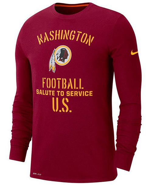Nike Men's Washington Redskins Salute To Service Dri-FIT Cotton Long Sleeve T-Shirt
