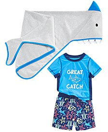 Baby Boys Shark Towel & 2-Pc. Rash Guard & Swim Trunks Set, Created for Macy's