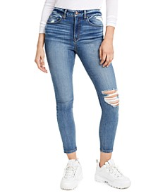Juniors' Ripped High-Rise Skinny Jeans