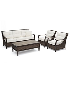 North Shore Outdoor 4-Pc. Seating Set (Sofa, 2 Club Chairs & Coffee Table) with Sunbrella® Cushions, Created for Macy's