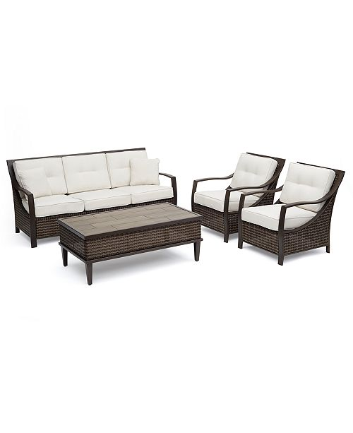 Furniture North Shore Outdoor 4-Pc. Seating Set (Sofa, 2 Club Chairs & Coffee Table) with Sunbrella® Cushions, Created For Macy's