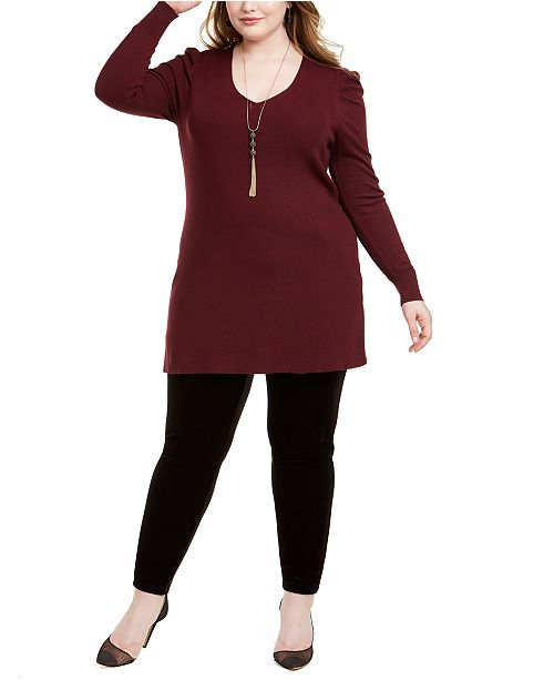 INC International Concepts INC Plus Size Puff-Shoulder V-Neck Tunic, Created For Macy's