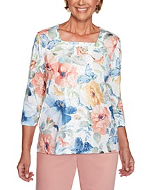 Petite Pearls Of Wisdom 2019 Floral-Print Square-Neck Top