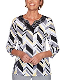 Petite Riverside Drive 2020 Printed Embellished Top
