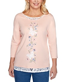 Petite Pearls Of Wisdom 2019 Lace-Trim Embroidered Top