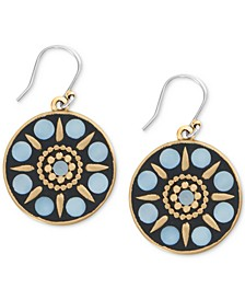 Gold-Tone Hammered Mother-of-Pearl Circle Drop Earrings