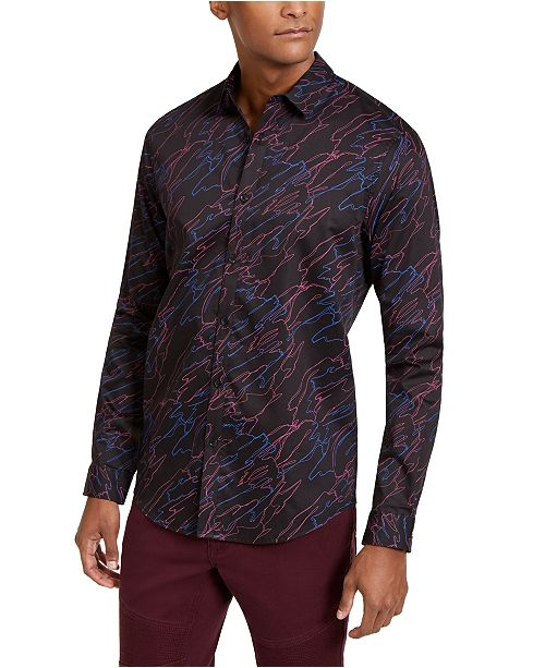INC International Concepts INC Men's Sylas Abstract Scribble Printed Shirt, Created For Macy's