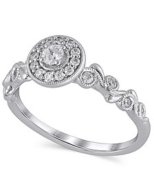 Certified Diamond (1/3 ct. t.w.) Engagement Ring in 14K White Gold
