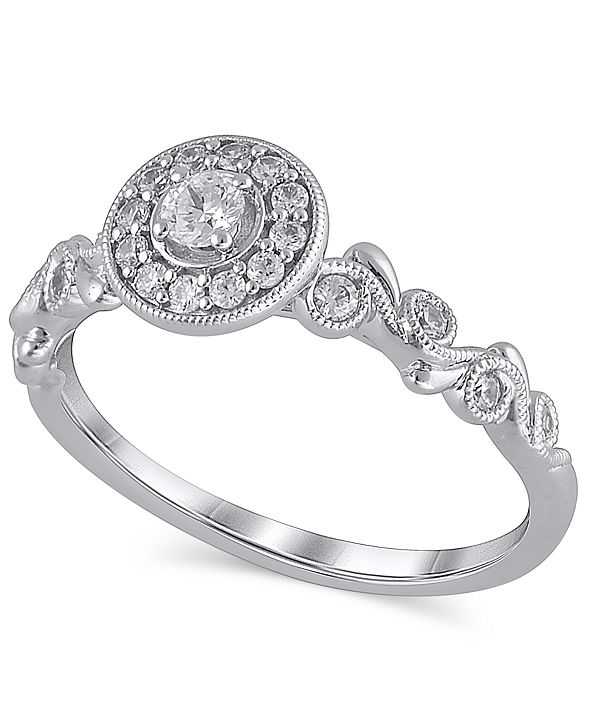 Macy's Certified Diamond (1/3 ct. t.w.) Engagement Ring in 14K White Gold