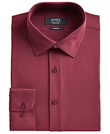 Men's Slim-Fit Performance Stretch Cooling Tech Burgundy Solid Dress Shirt