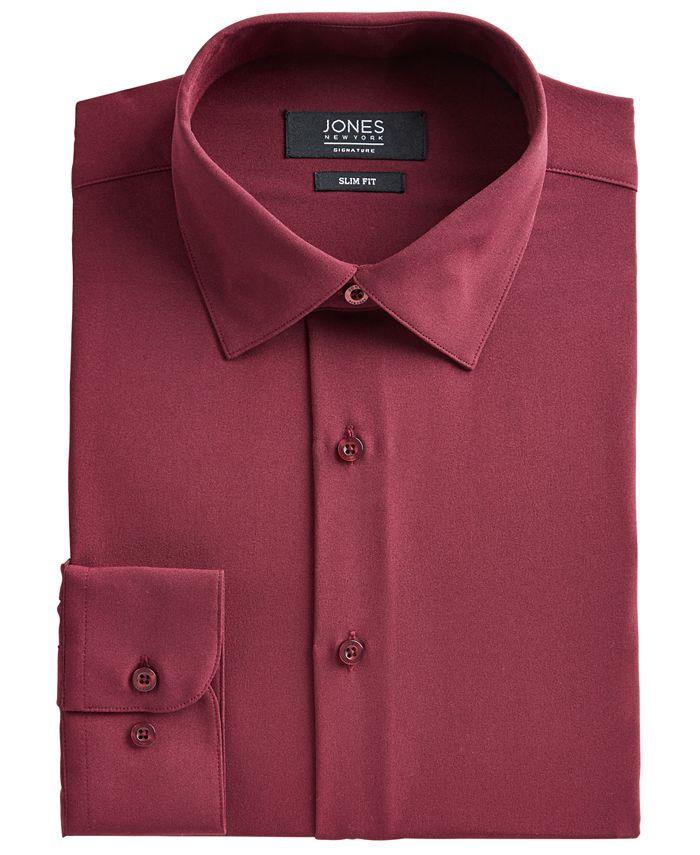 Jones New York - Men's Slim-Fit Performance Stretch Cooling Tech Burgundy Solid Dress Shirt