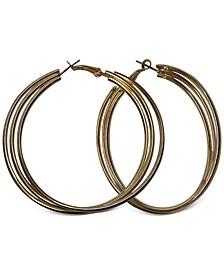 """Large Triple-Row Hoop Earrings, 2.5"""""""